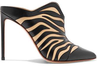 Francesco Russo Zebra-appliquéd Leather Mules - Zebra print