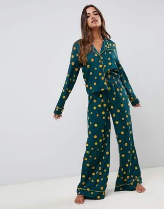 Asos DESIGN vintage polka wide leg and shirt pyjama set in 100% modal