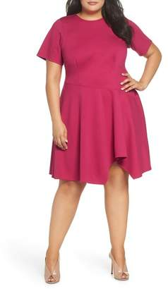 Eliza J Drop Waist Fit & Flare Dress (Plus Size)