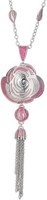 Ralph Lauren G. Adams G Adams Silvertone Colored Enamel Pave Rose Pendant