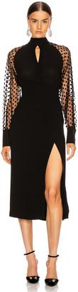 Balmain Long Sleeve Cutout Swiss Dot Midi Dress in Black | FWRD