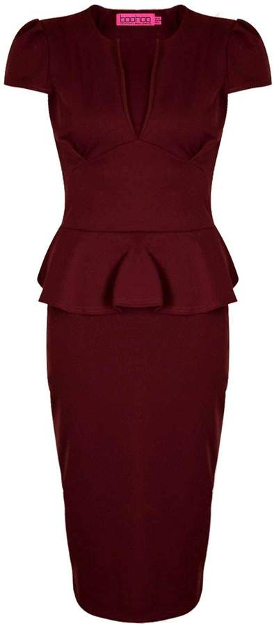 boohoo Emily Slit Neck Cap Sleeve Peplum Midi Dress 9