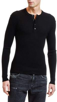 Dolce & Gabbana Men's Lightweight Rib-Knit Wool Henley Shirt