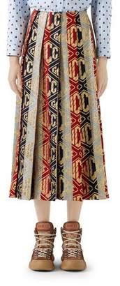 Gucci Pleated Rhombus-Logo Metallic Woven Tea-Length Skirt