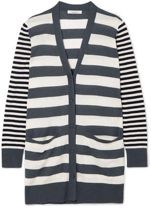 Max Mara Etiopia Striped Silk And Cashmere-blend Cardigan - Gray