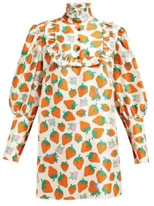 Gucci Ruffled Strawberry Print Silk Blouse - Womens - Ivory Multi
