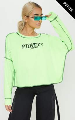 PrettyLittleThing Petite Neon Lime Loose Fit Slogan Top
