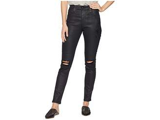 AG Adriano Goldschmied Farrah Skinny Ankle in Lacquered Distressed Pure Black