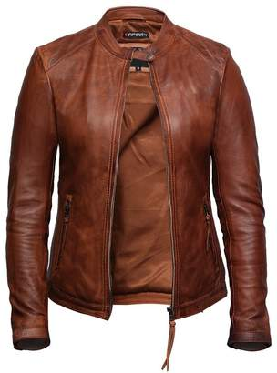 Brandslock Womens Genuine Leather Biker Jacket Lambskin Vintage (XL, )