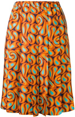 Marni pleated graphic print skirt