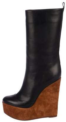 Celine Leather Mid-Calf Boots