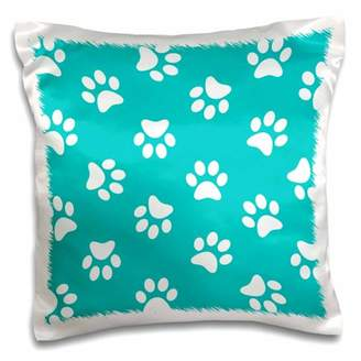 3dRose Teal blue and white Paw print pattern - turquoise pawprints - cute animal eg dog or cat footprints - Pillow Case, 16 by 16-inch