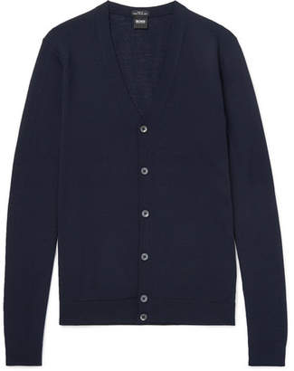 HUGO BOSS Mardon Slim-Fit Virgin Wool Cardigan - Men - Navy