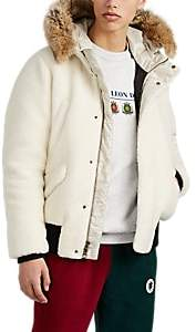 Leon AIMÉ DORE Men's Fur-Trimmed Sherpa Down Bomber Jacket - White