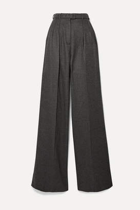 Gabriela Hearst Vargas Belted Brushed-cashmere Wide-leg Pants - Dark gray