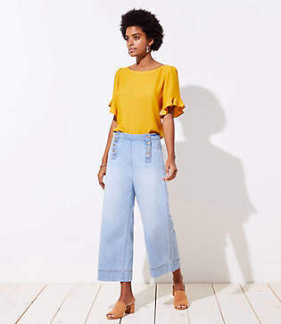 LOFT Modern Wide Leg Crop Sailor Jeans in Classic Light Indigo Wash