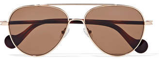 Moncler Aviator-style Rose Gold-tone Sunglasses - Metallic