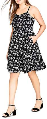 City Chic Plus Sleeveless Floral-Print Dress