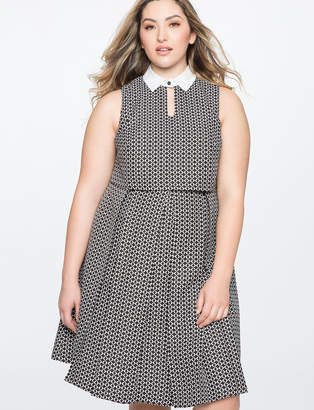 ELOQUII Fit and Flare Dress with Keyhole Detail