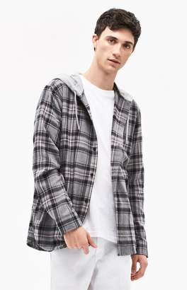 PacSun Hooded Plaid Flannel Shirt