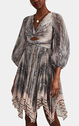 Zimmermann Women's Python-Print Pleated Chiffon Dress