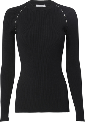 MUGLER Metal Side Detail Ribbed Sweater $720 thestylecure.com