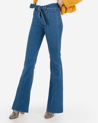 Express Super High Waisted Dark Wash Belted Bell Flare Jeans
