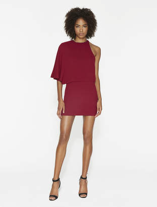 Halston Asymmetric Crepe Mini Dress