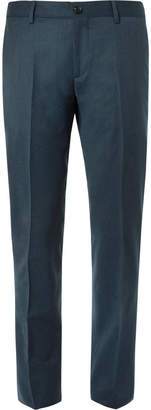 Etro Petrol Slim-Fit Mélange Stretch Wool-Blend Suit Trousers
