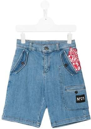 No.21 Kids floral appliqued denim shorts