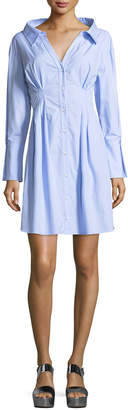 Alice + Olivia Vergie Button-Front Striped Shirtdress