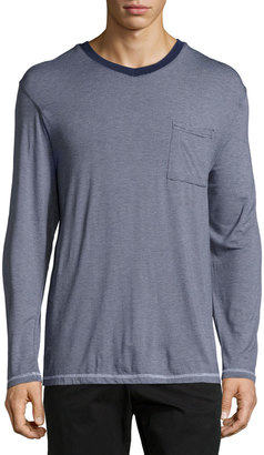 Robert Graham Striped Long-Sleeve V-Neck Tee, Navy $52 thestylecure.com