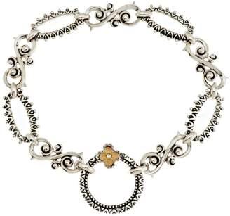 "Barbara Bixby Sterling & 18K Textured Link Bracelet 7-1/4"""