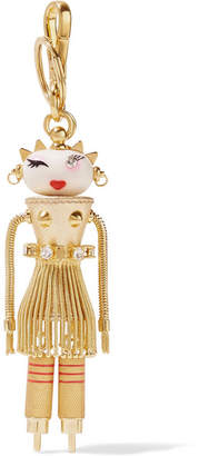 Prada Dalilah Embellished Metallic Textured-leather Keychain - Gold
