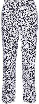 Oscar de la Renta Printed Stretch-Wool Flared Pants