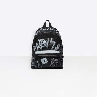 Balenciaga Graffiti print lambskin large backpack