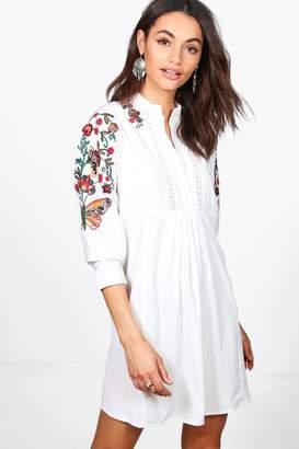 boohoo Embroidered Batwing Shirt Dress