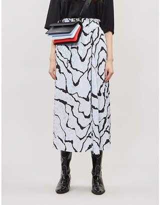 Gestuz Aylin ripple-print satin midi skirt