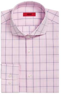 HUGO BOSS Men's Slim-Fit Pink/Navy Windowpane Dress Shirt
