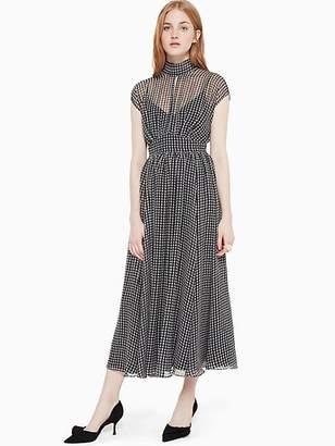 Kate Spade Houndstooth Chiffon Dress, Black/Cream - Size 8