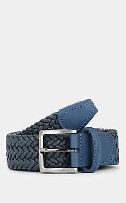 Barneys New York Men's Woven Cotton Belt - Gray
