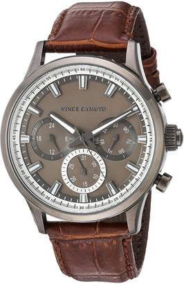 Vince Camuto Men's Quartz Stainless Steel and Leather Dress Watch, Color:Brown (Model: VC/1089DGDG)