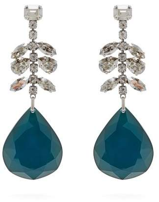 Isabel Marant Crystal Embellished Drop Earrings - Womens - Green