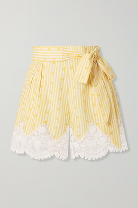 Miguelina Liana Crochet-trimmed Striped Cotton-voile Shorts - Yellow