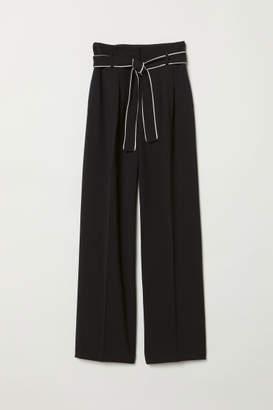 H&M Wide-leg Pants with Tie Belt - Black
