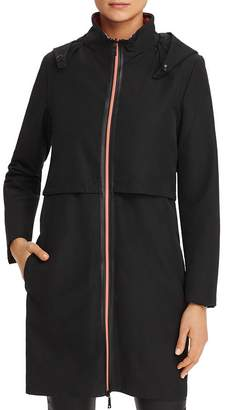 Giorgio Armani Contrast-Zip Back-Logo Raincoat