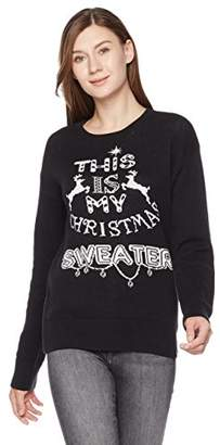 Ugly Fairisle Unisex Adult Jacquard This is My X'Mas Sweater Crewneck Long Sleeve Christmas Sweater XXL Black/White