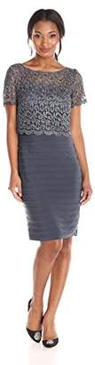 Betsy & Adam Women's Short Sleeve Lace Popover Dress $179.99 thestylecure.com