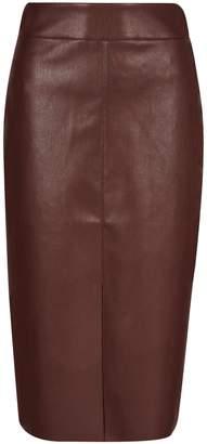 Dorothy Perkins Womens Chocolate Pu Midi Skirt