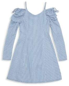 Habitual Girl Habitual Girl Girl's Whilemina Cold-Shoulder Cotton Dress - Stripe - Size 7-8